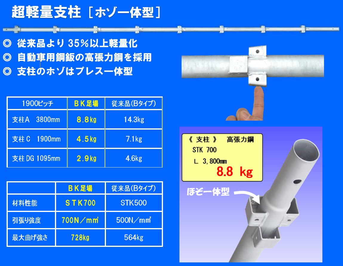 超軽量支柱(ホゾ一体型)